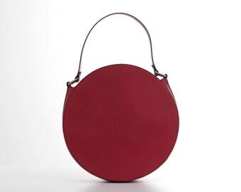 Red leather round bag, circle bag, red leather purse, red shoulder bag, leather handbag, womens bag, red purse, red bag, red handbag