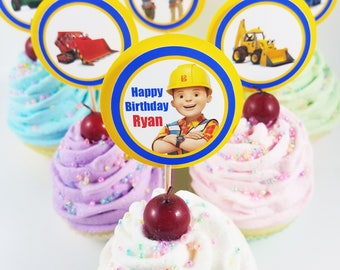 """Personalized Bob The Builder 1.75"""" Birthday Cupcake Toppers"""