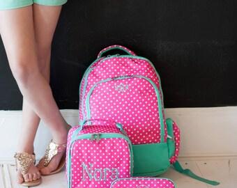Pink Dottie Backpack Combo with Monogram, Hot Pink Dot Backpack Combo, Backpack Lunch Bag Combo, Back to School Combo, Pink Dottie Combo