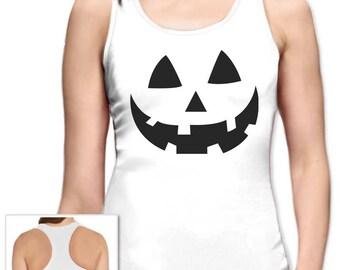 Smiling Pumpkin Face - Easy Halloween Costume Fun Racerback Tank Top