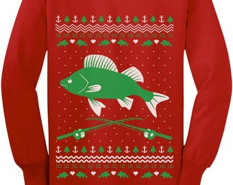 Fishing Ugly Christmas Sweater Gift for Fishermen Youth Kids Long Sleeve T-Shirt
