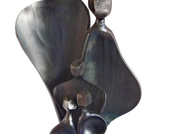 Boris Kramer Family Sculpture - Hand Forged Steel - Loving Arms Abstract Modernist Art - Vintage 1996 - 16 Inch Family of 5 Christmas Gift