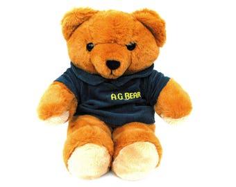 1985 AG Bear Axlon Teddy Vintage 1980s Stuffed Animal Toy No Voice Box Original Monogram Blue Corduroy Shirt Secret Hiding Place Compartment