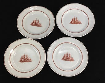 Wedgewood Bread and Butter Plates * Flying Cloud * Rust Red * Set of 4