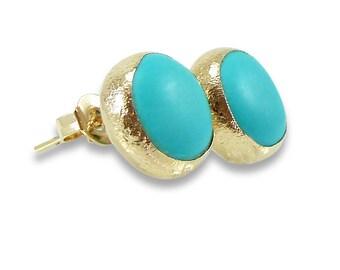 Turqouise Stud Earrings, Turquoise earrings, Turquoise, Gemstone Earrings, Turquoise studs, Gold Studs, Minimalist Studs, Turquoise Jewelry.