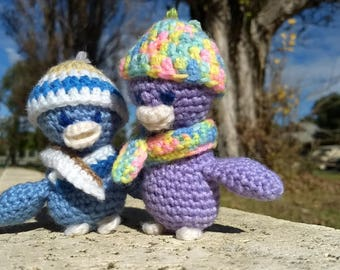 "Orchard the Duck - Blue with Variegated Scarf and Hat (3.5""/9cm)"