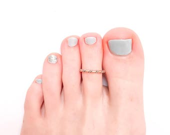 Twist Toe Ring, Rose Gold and Silver Mix