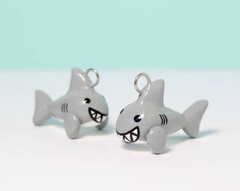 Cute Shark Charm - Polymer Clay Charm -  Polymer Clay Shark - Shark Jewelry - Sea Creature Charm - Kawaii Shark - Cell Phone Charms