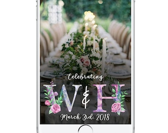 Wedding Snapchat Geofilter Floral, Spring Bridal Shower Snapchat Filter, Snapchat Geofilter, Wedding Day Geofilter Bridal Snapchat Filter