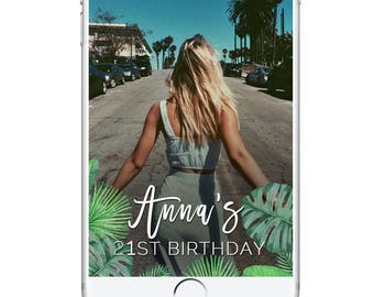Birthday Snapchat Geofilter, Happy Birthday Palm Leaves Cute Girly Simple Geofilter, Birthday Brunch, Pretty Snapchat 21st 22nd 23rd Bday