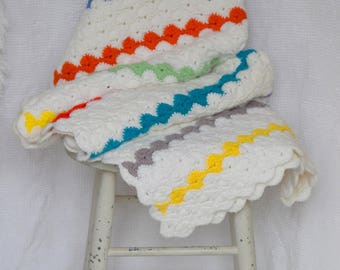 Vintage Hand Made Rainbow and White Crochet Blanket / Afghan / Throw / Baby / Nursery Blanket