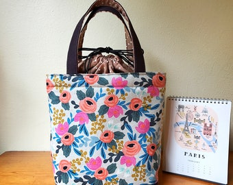 Insulated Lunch Bag/ Lunch Bag Insulated/ Handmade Lunch Bag/Lunch Bag for women/Tote bag/ Drawstring lunch tote/ Floral tote bag