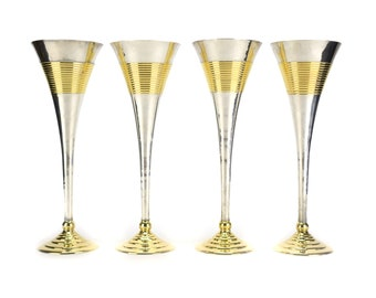 Set 4 Vintage Brass Wine or Spirits Glasses - Assorted Gold Barware Bar Cart Accessories - Hollywood Regency Mid Century White Red Wedding