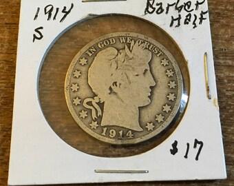 1914 S Barber Half Dollar