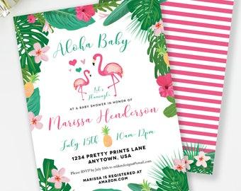 Flamingo Baby Shower, Aloha Baby Shower, Flamingo Invitation, Tropical Shower, Luau Baby Shower, Pineapple Invite, Pineapple Shower, #C2