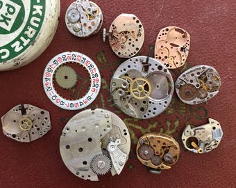 Vintage Prague-Kurtz Watch Tin filled with Vintage Watch Movements & Parts