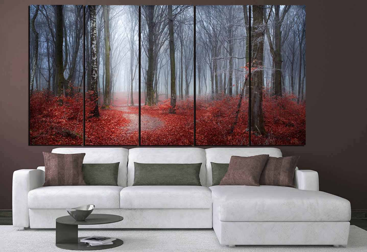 Nature Wall Art,Red Leaves Blue Mist Art,Red Leaves Forest,Nature Scenery