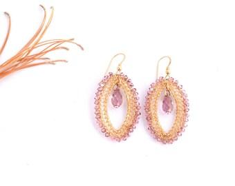 Long Earrings,Purple Earrings,Statement Earrings,Crystal Jewelry, 14K Gold Filled,Big Purple Earrings,Swarovski Earrings,Lilach Lavender