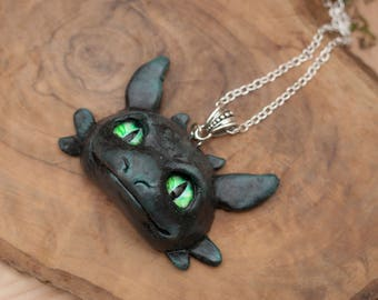Train your Dragon fanart necklace, Toothless necklace, Polymer Clay necklace, Cute Pendant, Night Fury, Furry Fandom, Polymer Clay Jewelry
