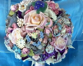 Disney Alice in Wonderland Wedding Flower Bouquet-Wedding Bridal Flowers-Brides Brooch Bouquet-Victorian Alice-Wedding Flower-Pastel Wedding