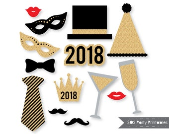 New Years 2018 Photobooth Props, Gold Glitter New Years Eve Party, New Years Printables, New Years Photo booth props, Instant Download