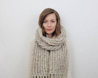 SALE Oversized Knit Scarf with Fringe Chunky Wool Scarf | THE STOCKHOLM