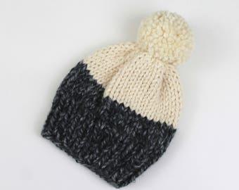 Chunky Knit Pom-Pom Hat Wool Two-Tone | THE BERLIN in Summit + Snow