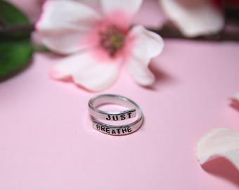 Just Breathe. Breathe jewelry. Yoga Jewelry. Quote jewelry. Inhale exhale ring. Just breathe ring.
