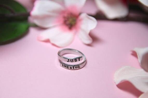Just Breathe. Breathe jewelry. Yoga Jewelry. Quote jewelry. Inhale exhale ring. Just breathe ring.