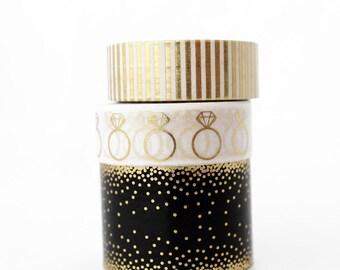 Wedding Gold Foil Love Washi Tape Ring Confetti Stripped Glam Bride