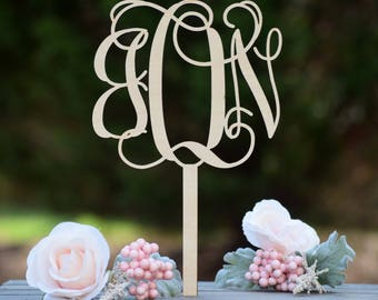 Wedding Cake Topper - Cake Toppers - Rustic Cake Topper - Custom Cake Topper - Personalized Wedding Cake Topper - Monogram Cake Topper