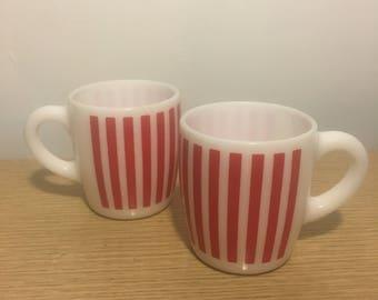 Pair of Hazel Atlas Red Candy Stripe Mugs
