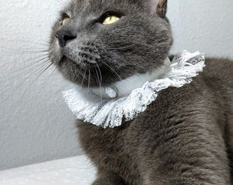 New! White Lace with Glitter and Rhinestone Collar for Dogs & Cats