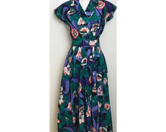Vintage Tropical Print Dress