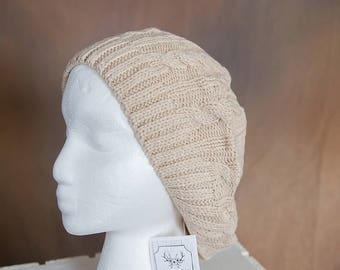 Tan Slouch/Beret Hand Knit Hat