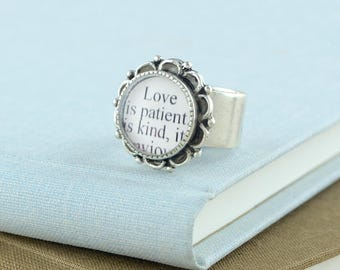 Love is Patient Ring / Love is Patient, Love is Kind / 1 Corinthians 13 / Love Quote Ring / Love Ring / Anniversary Gifts / Christian Gifts