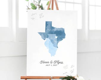 Wedding Guest Book Alternative Map with Watercolor States for Guest Sign In Board - The Statelove by Miss Design Berry