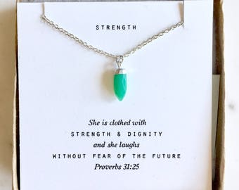 Faceted Chrysoprase &  Silver pendant necklace.  Encouraging quote or custom quote.  Gifts for her, Serenity Prayer, Joshua 1:9, Soul Sister