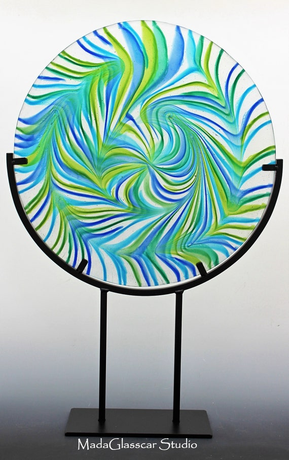 Liquid Swirls Fused Glass Disk