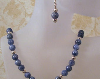 Blue Denim Sodalite and Sterling Silver Necklace Set, Blue and Silver Jewelry, Natural Stone Necklace and Earrings, Gift for Her