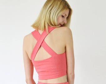 Kirsten Sweetheart Neck Crop Top Bralet. Fitted Strappy Top with Cross Back Straps in Coral Pink