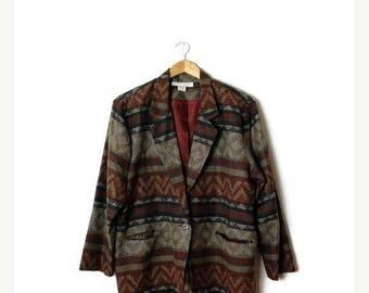ON SALE Vintage Oversized Navajo/Tribal inspired Pattern Acrylic Blazer  from 1980's*