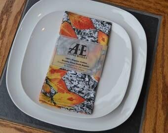 Organic Cloth Napkin - Autumn Leaves & Granite Print - Cotton Fabric (Slate Napkin Ring add on option)