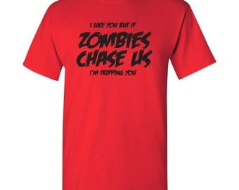 I Like You But Zombies Basic Cotton T Shirt