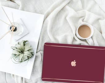 Platinum Edition Burgundy with Rose Gold Edge Detailing Hybrid Hard Case for Apple Macbook Air , Macbook Pro Retina, New Macbook Pro Touch