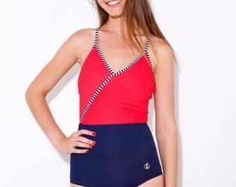 Red & Blue one piece swimsuit - retro swimsuit - one piece V swimsuit - Swimsuit wrapper - one piece bathing suit - retro swimwear