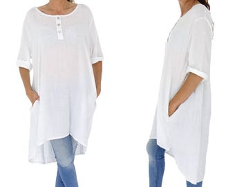 IA300W ladies linen tunic shirt vintage gowns short sleeve oversize white Gr. 38 40 42 44 46 48