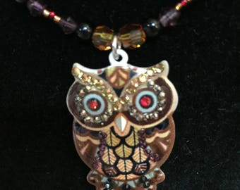 Black, Gold, Purple, Red, Owl Glass Beaded Necklace, Owl Necklace, Owl Pendant, One of a Kind Beaded Jewellery Gift for Her