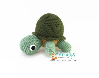Crochet Turtle- Turtle Plush- Green Turtle Toy- Crochet Toy- Stuffed Turtle- Handmade Turtle- Crochet Toy- Made to Order
