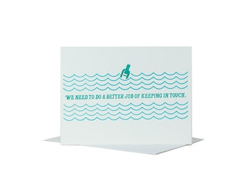 Keep in Touch Greeting Card Message in a Bottle Image in Blue and Green on White Paper Printed on Antique Letterpresses in Cleveland Ohio